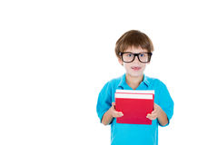 Smart, brilliant kid with books in hand Stock Photos