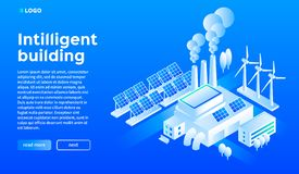 Smart building concept background, isometric style vector illustration
