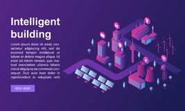 Smart building concept banner, isometric style vector illustration