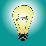 Smart bulb. A lightbulb with the word smart Royalty Free Stock Photo