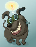 Smart bulldog. Illustration of bulldog with ball lamp idea and bubble text Stock Image