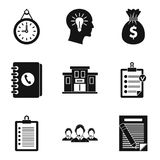Smart business icons set, simple style. Smart business icons set. Simple set of 9 smart business vector icons for web isolated on white background Stock Photo