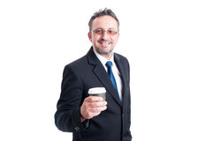 Smart business man holding a coffee to go cup Stock Photos