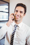 Smart business professional talking on mobile phone. In office Stock Photos