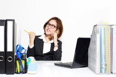 The smart business woman acting glad and success with her targets customer Stock Images