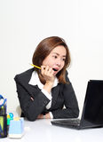 The smart business woman acting glad and success with her targets customer Stock Photos