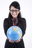 Smart Business Woman With a Globe stock image