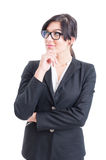 Smart business woman thinking Royalty Free Stock Photos