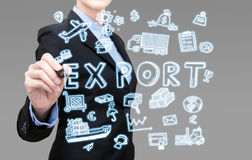 Smart Business woman is writing export idea concept Stock Photography