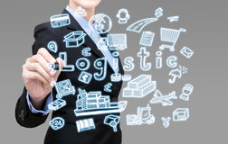 Smart Business woman is writing logistic idea concept Stock Photos