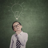 Smart businessman and drawn bulb Royalty Free Stock Images
