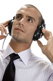 Smart businessman with headphone Royalty Free Stock Photography