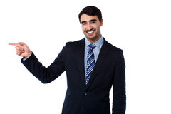 Smart businessman pointing at something Royalty Free Stock Photography