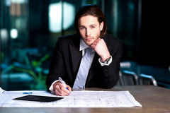 Smart businessman projecting his plans Royalty Free Stock Photo