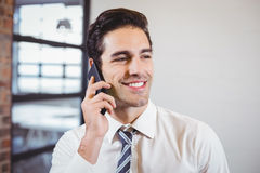 Smart businessman talking on mobile phone. In office Stock Image