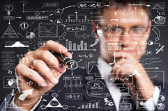 A smart businessman writing with a marker on the screen Royalty Free Stock Photos