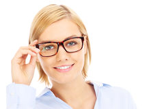 Smart businesswoman in glasses Stock Images