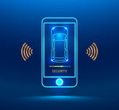 Smart car alarm system. Icon. The smart phone controls the car security on the wireless and reports the owner a level of protection of the car. cybersecurity Stock Photography