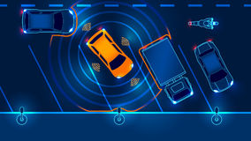 Smart car is automatically parked. In the Parking lot, the view from the top. Parking Assist system security scans the road. Vector illustration Stock Image