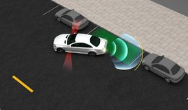 Smart car, Automatically parks in the Parking lot with Parking Assist System, 3D rendering. Image stock illustration