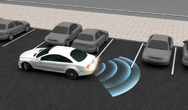 Smart car, Automatically parks in the Parking lot with Parking Assist System, 3D rendering. Image royalty free illustration