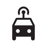Smart car - Glyph Icon - Black. Self driving, connected, smart, autonomous, driverless car Royalty Free Stock Images