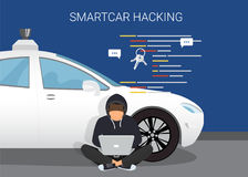 Smart car hacking attack. Flat vector illustration of young hacker sitting near white car and using laptop to hack smartcar protection system. young man with stock illustration