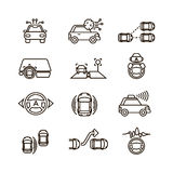 Smart car and hands free driving automatic system vector line icons Stock Photography