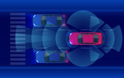 Smart car HUD, autonomous self-driving mode vehicle on metro city road iot concept with graphic sensor radar signal. System and internet sensor connect. Vector vector illustration