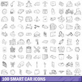 100 smart car icons set, outline style Stock Image
