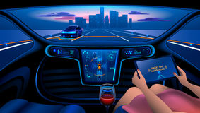 Smart car interior. Autonomous Smart car interior. A woman rides a autonomous car in the city on the highway. The display shows information about the vehicle is Stock Images