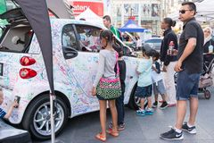 Smart Car marketing op for children in Dundas Square Royalty Free Stock Images