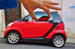 Smart: car and model Stock Photos