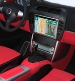 Smart car navigation interface in original design. Red interior version Royalty Free Stock Image