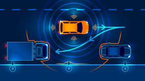 Smart car Parking Assist system. Parallel Parking. Vector illustration Royalty Free Stock Images