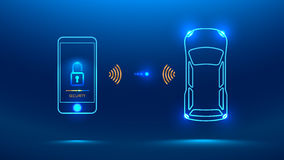 Smart car security system. Icon. The smartphone controls the car security on the wireless and shows the owner a level of protection of the car Vector Royalty Free Stock Photos