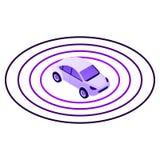 Smart car sensor zone icon, isometric style vector illustration
