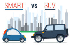 Smart car vs SUV. Vector illustration of two cars - small smart and huge SUV on city background in flat style. Drive comparison vector illustration