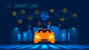 Smart car wireless network connection with smart city. Smart vehicle and automotive technology. Icons of city infrastructure. Taxi Future concept. Vector Royalty Free Stock Image