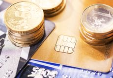 Smart card and coins Royalty Free Stock Photography