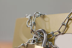 Smart card locked in chain Stock Photos