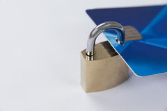 Smart card protected with metallic lock Stock Image