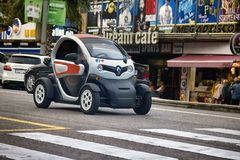 Smart cars are economical in consumption of fuel and Parking. Renault. Spain, Leora de Mar - October 2, 2017: Smart cars are economical in consumption of fuel Stock Images