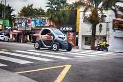 Smart cars are economical in consumption of fuel and Parking. Renault. Spain, Leora de Mar - October 2, 2017: Smart cars are economical in consumption of fuel Stock Photos