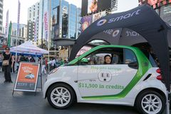 Smart cars promotional display in Dundas Square Royalty Free Stock Photography