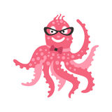 Smart cartoon pink octopus character wearing glasses and bow tie, funny ocean coral reef animal vector Illustration Royalty Free Stock Images