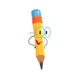 Smart cartoon yellow pencil character with hands on waist, humanized funny pencil vector Illustration. On a white background stock illustration