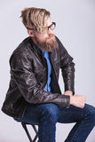 Smart casual blond man looking away from the camera Royalty Free Stock Image
