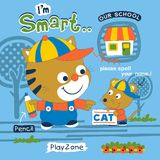 Smart cat. Vector illustration for children clothes Stock Photo