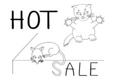 Smart cat will not miss its chance to catch the mouse by the tail on a hot sale. Humor. Smart cat will not miss its chance to catch the mouse by the tail on a vector illustration
